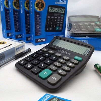 Desktop Calculator Large Button School Office 12-Digits Display Battery Power