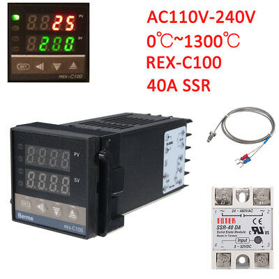 REX-C100 Digital PID Temperature Controller Regulator K Thermocouple 40A SSR