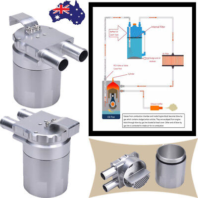 Billet Aluminium Engine Oil Catch Can Double Baffled Close Loop 19mm Barb Silver
