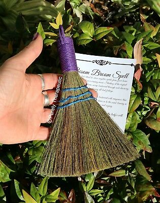BESOM BROOM ALTAR RITUAL SMUDGING CLEANSING HEATHER Wicca Witch Pagan Gothic