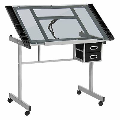 Adjustable Drafting Drawing Craft Table Art Glass Desk Storage Drawers Black