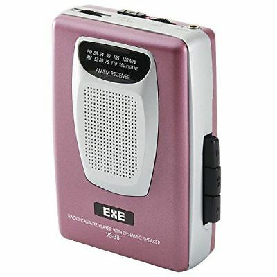 Retro Personal Stereo Portable Cassette Tape Player with Radio & Speaker - Pink