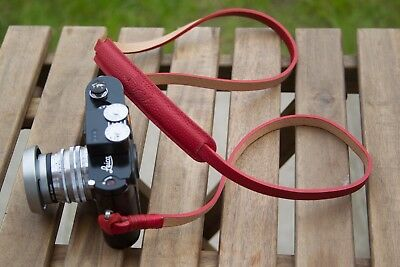 Leather Camera Strap - Red
