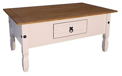 Corona White Painted Coffee Table 1 Drawer Livingroom by Mercers Furniture