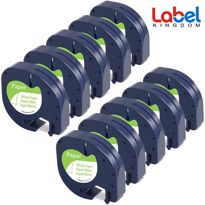 Compatible for DYMO Letratag 91330 S0721510 White Paper 12mm Label Tape 10PK