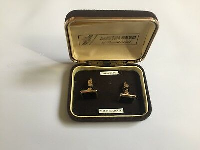 Vintage Austin Reed Real Jade Black Gold Coloured Cufflinks With Box 19 00 Picclick Uk