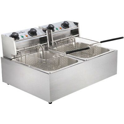 Electric Commercial Deep Fryer Double Twin Basket Steel Benchtop @TOP