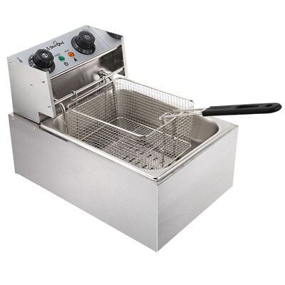 5 Star Chef Electric Commercial Deep Fryer Single Basket Steel Benchtop @TOP
