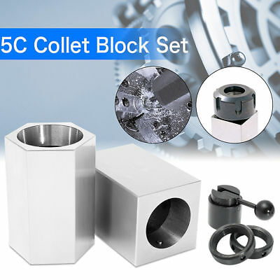 5Pcs 5C Collet Block Set Hex Square Rings Collet Closer Holder