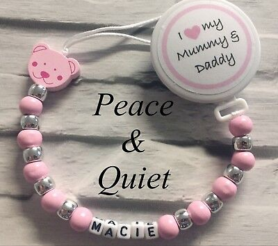 Personalised Wooden Dummy Clip💗I Love My Mummy & Daddy💗Chain💗pink/girl💗 #BWP