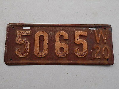 1920 Wisconsin License Plate 5065 Original! Low Number! ~FastFreeShip~
