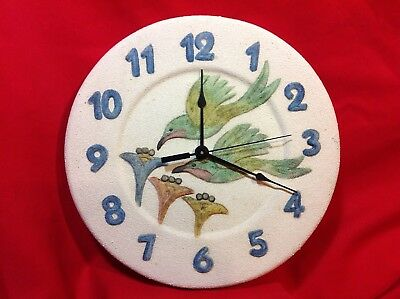 "TerraCotta Hummingbird Wall Clock Battery Operated 12"" diameter"