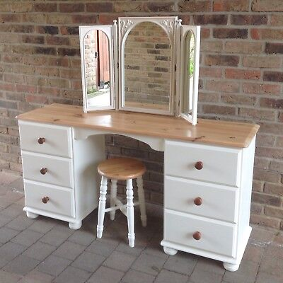 Perfect Lovely Shabby Chic Pine Dressing Table / Desk, 3 Way Mirror U0026 Stool