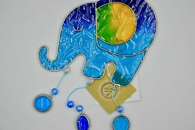 New Stained Glass Hanging Elephant Sun Catcher Blue Green Yellow Decoration Sd