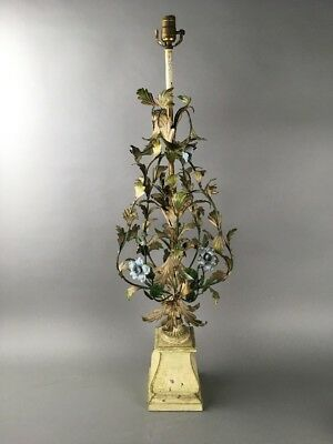 Vintage Hollywood Regency Italian Florentine Large Floral Tole Lamp