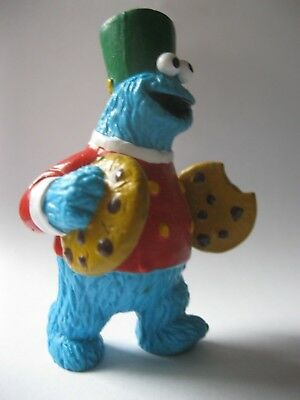 """COOKIE MONSTER Applause Sesame Street plastic figurine about 3.5"""" COOKIE CYMBALS"""