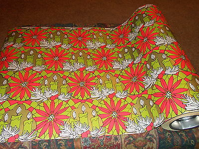 Vtg 1960 Christmas Wrapping Paper 2 Yards Gift Wrap Mcm Retro Funky Hippie Cool