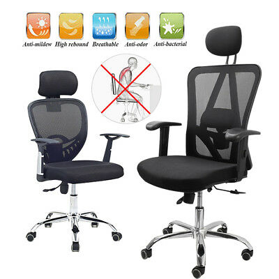 Office Computer Desk Chair Mesh Seats Highs Back Ergonomic 360°Swivel Lift Black