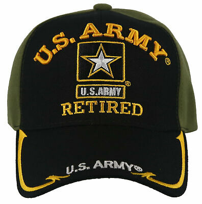 New! Us Army Retired Star Side Line Ball Cap Hat Olive Black