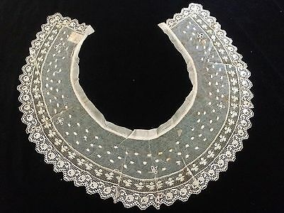 Antique Lace Collar Cherries Filet Edwardian Victorian Lord Taylor Tag Costume