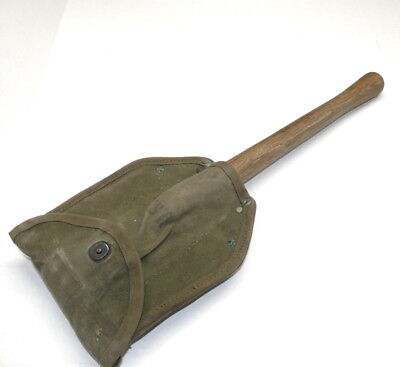 1944-1945 WWII US ARMY AMES Shovel Entrenching tool & Canvas Lub Prod Cover