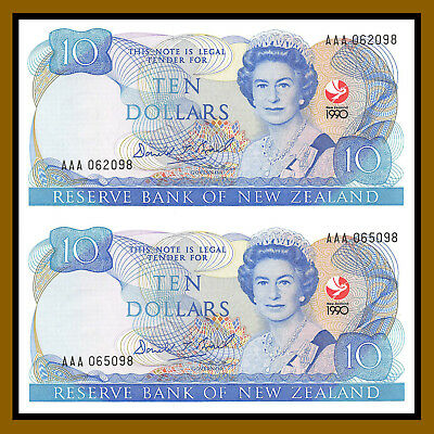 New Zealand 10 Dollars (2 Pcs Uncut sheet), 1990 P-176 Comm Queen Elizabeth II