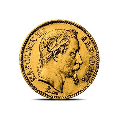 France 20 Francs Napoleon III Gold Coin - Random Date - Average Circulated