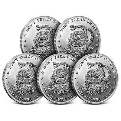 Lot of 5 - 1 oz Silver Round - Don't Tread on Me Eternal Vigilance Design - New