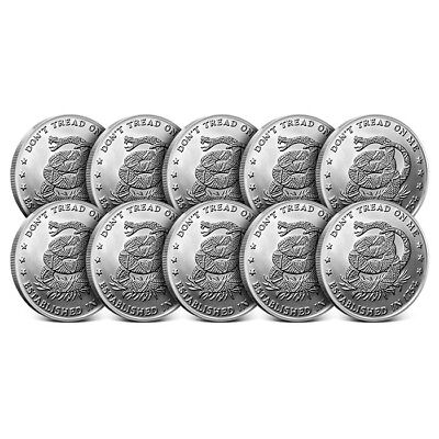 Lot of 10 - 1 oz Silver Round | Don't Tread on Me - Eternal Vigilance