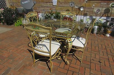 Vintage French Country Hand Painted Metal Table with 4 Hand Painted Chairs #S101