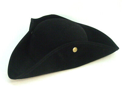 Outlander Revolutionary War Poldark Colonial Tricorn costume Black faux suedehat