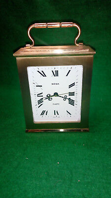Vintage Swiza Quartz Heavy Brass Carriage or Mantel Alarm Clock