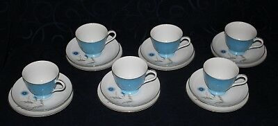 vintage TEA SET 18pce blue cornflowers YAMATO FINE CHINA JAPAN 6 TRIOS VGVC