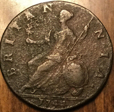 1744 Uk Gb Great Britain Geo Ii Halfpenny