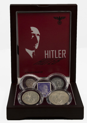 Adolf Hitler: A Collection of Four Coins & One Stamp Issued By The Third Reich