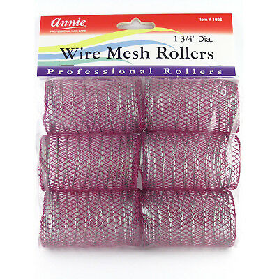 Annie Wire Mesh Rollers #1026 6 Count Purple Jumbo 1 3/4""