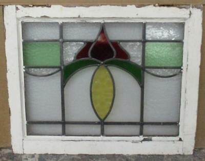 "MID SIZED OLD ENGLISH LEADED STAINED GLASS WINDOW Fun Floral 23.75"" x 19.25"""