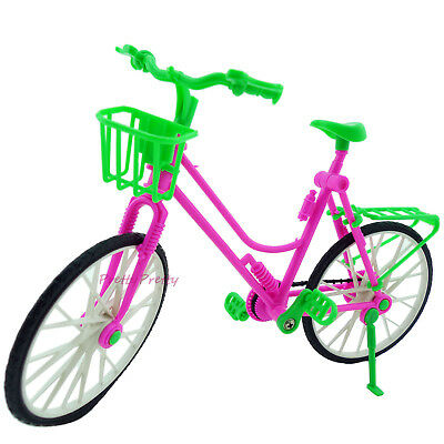 """1:6 Toy Plastic Bike Bicycle With Basket For Barbie 12"""" Doll Outdoor Accessories"""