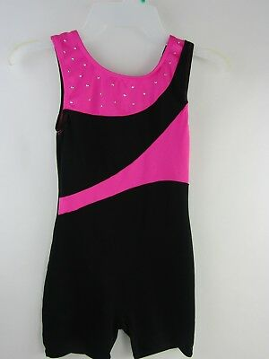Girls Danskin Freestyle One Piece  Dance Leotard Pink/Black Size 7/8