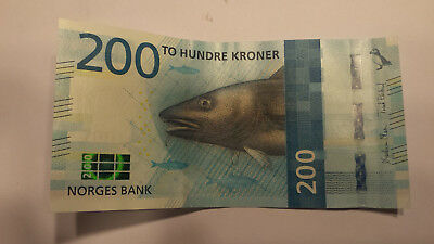 NORWAY 200 NOK Kroner Bank note World Money Currency Europe Note Bill CIRCULATED