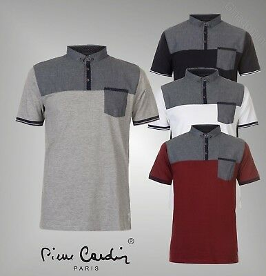 Mens Branded Pierre Cardin Short Sleeves Top Chest Panel Polo Shirt Size S-XXL