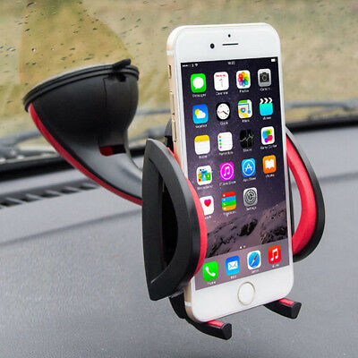 Red 360° Universal Car Windscreen Dashboard Mount Holder For Smart Phone GPS New