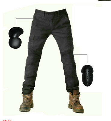 Hot MOTORCYCLE JEANS WITH PAD DENIM BIKER ARMY GREEN MOTO PANTS COMBAT PANTS New