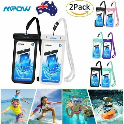 2 Pack Mpow Universal Waterproof Case IPX8 Phone Pouch Dry Bag for iPhone X 8 7