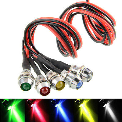 5PCS 12v 8mm LED PANEL DASH WARNING LIGHT INDICATOR LAMP Car Truck Van Boat Bulb
