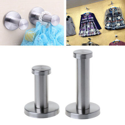 2pcs Brushed Stainless Steel Bath Towel Single Super Heavy Duty Wall Mount Hooks