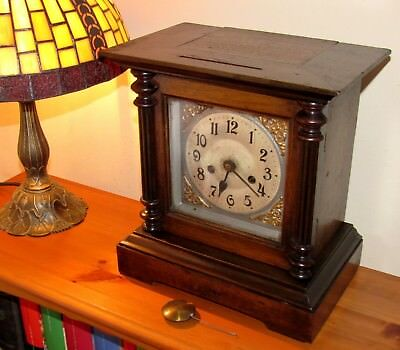 Very Nice Badische German Striking Walnut Mantle Clock