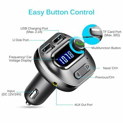 Bluetooth Car FM Transmitter Kit Wireless Radio Adapter MP3 Player USB Charger