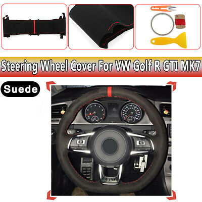 Black Suede Steering Wheel Hand-stitch On Wrap Cover Fit For VW Golf R GTI MK7