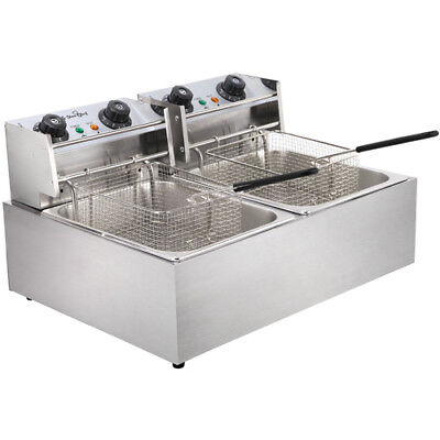 Electric Commercial Deep Fryer Double Twin Basket Steel Benchtop @HOT